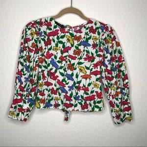 Zara Basic Floral Puff Sleeve Tie Back Blouse Top